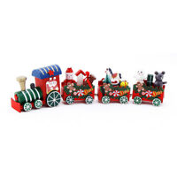 AU_ Christmas Wooden Train Santa Claus Xmas Festival Ornament Home Decor Kids Gi