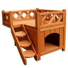 Wooden Pet House Cat Room Dog Puppy Kennel Indoor Outdoor Shelter w/ Balcony