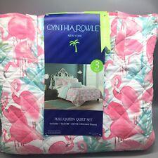 4pc CYNTHIA ROWLEY Pink Flamingo Full/Queen Quilt Set BONUS Bag Tropical Reverse