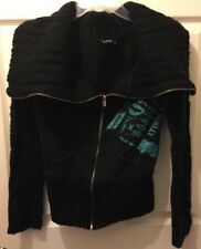 Hurley Womens Black Over-Sized Chunky Knit Sweater And Sweatshirt Combo Sz. S