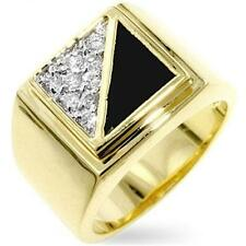 18K GOLD EP MENS ONYX DIAMOND SIMULATED RING sz 12 or Y