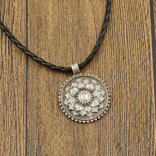 Tibet Mandala Flower Pendant Necklace Fine Carved Spiritual Amulet Jewelry Gifts