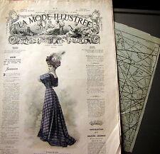 LA MODE ILLUSTREE + PATRON,  n° 6/1908 Voir modèles à réaliser, FRENCH PATTERN