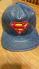 Superman hat DC ComicsOriginal Denim Look Faux Leather Bill Hat Cap, DC Comics,
