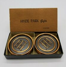 "Hyde Park Coasters ""W"" Initial Copper & Black Enamel Set of 8 in Original Box"
