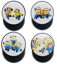 MINIONS DESPICABLE ME PLUG LOGO CHARACTER TUNNEL ACRYLIC SCREW FIT EAR STRETCHER