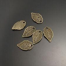 100pcs Vintage Bronze Alloy Crimp Tree Leaf Pendant Charms