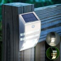 Solar Powered PIR Motion Sensor 2-LED Security Light Garden Wall Steps