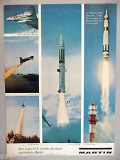 Martin Aircraft Print Ad - 1960 ~ Pershing, Titan & 3 other missile
