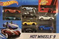 Hot Wheels Special 9 Pack of Supercars including 2 Bugatti's