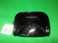 Max Factor X black PVC make-up bag with red lining. New.