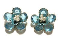 Vtg Blue Glass Flower Faux Pearl Rhinestone Clip On Earrings Enamel Gold Tone