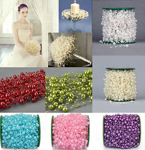 Lot 5M/60M Fishing Line Multicolor Pearl Beads Chain Garland Wedding Decoration