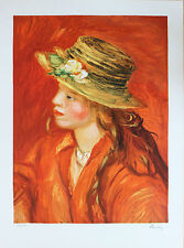 Renoir Lithograph Hand Numbered Limited Edition Woman With Straw Hat