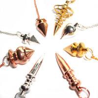 Metal Dowsing Pendulum Healing Point Ball Egyptian Coil Copper Gold Silver