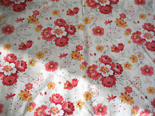 Antique French Daisy Roses Floral Cotton Fabric ~ Coral Red Pink Golden Yellow