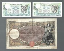 Italy 🎇 500 Lire X 3 pcs Large and small note 🎇 Collections & Lots #19293