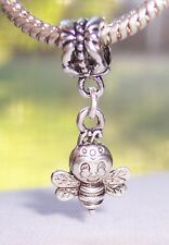 Smiling Bumblebee Bee Bug Double Sided Dangle Charm for European Bead Bracelets