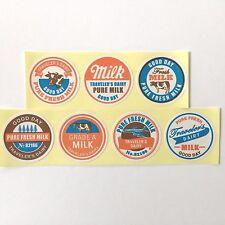 """Midori Roll Stickers Lot of 7 different Milk theme - 1"""" diameter - Kawaii Japan"""