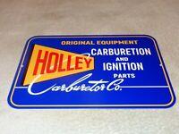 "VINTAGE  HOLLEY CARBURETOR & AUTO CAR IGNITION PARTS 12"" METAL GASOLINE OIL SIGN"