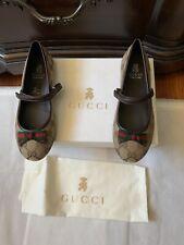 New Gucci Youth Supreme Web-Trim Mary Jane, 34, Beige