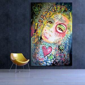 Large Pop Art Mixed Media Grafitti Painting Canvas Text Words Modern Spray Paint