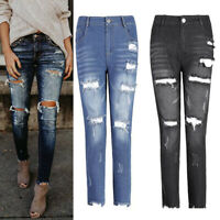 Women's Ripped Skinny Jeans Denim Distressed Jeggings Pencil Trousers Plus Size