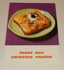 Fiche Recette de CUISINE Pain JACQUET : Toast aux Carottes rapées - Vintage