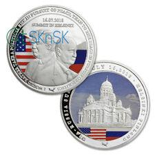 U.S. Russia Donald Trump Vladimir Putin Summit Helsinki 2018 Silver Plated Coin
