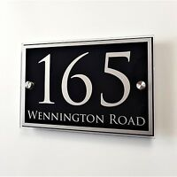 HOUSE NAME/NUMBER PLATE DOOR SIGN PROPERTY ADDRESS PLAQUE GLASS EFFECT A5