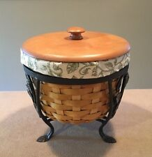 Longaberger 2004 At Home Garden Small Plant Basket Combo & Wrought Iron Stand
