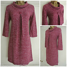 NEW EX EPILOGUE DARK PINK WHITE MARL BUTTON DETAIL COWL NECK DRESS SIZE 10 - 20