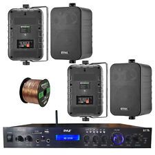 """Home Amplified Bluetooth MP3 Receiver, 4x 4"""" Box Black Speakers, 16-G 50 Ft Wire"""
