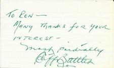 CLIFF BATTLES SIGNED 3x5 INDEX CARD~PRO FOOTBALL HALL OF FAME~HOF AUTO~REDSKINS