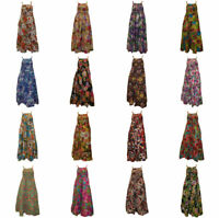 100% COTTON BOHO HIPPIE VINTAGE STYLE STRAPPY ELASTICATED FLORAL MAXI DRESS