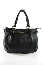Miu Miu Black Leather Woven Handles Removable Strap Medium Shoulder Handbag
