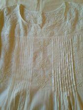 Handmade white cotton dress kurta night gown M L hand embroidered applique
