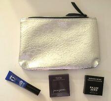 IPSY Silver Cosmetic Bag with Makeup Bundle: Bronzer - Mascara - Eyeshadow