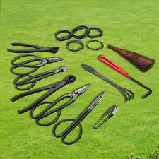 10 PCS  Bonsai Tools Set with Tool Roll Wires Case NEW Carbon Steel Shear Set
