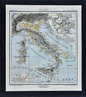 1875 Lange Map - Physical Italy - Rome Plan Italian Alps Vesuvius Etna Sicily