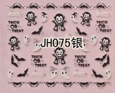 Halloween Black Bats Vampire White Ghost Silver Stud 3D Nail Arts Sticker Decals