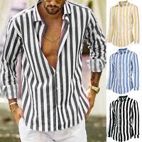 Men's Button Down Striped Long Sleeve Regular Fit Casual Dress Shirt Tops Blouse