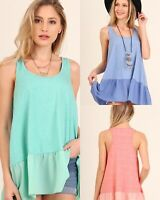 UMGEE Cami Tank Top With Ruffle Hem Size Small