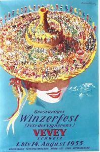 Original vintage poster VEVEY SWISS WINE FESTIVAL 1955