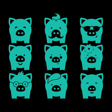 "2"" PIGGIES x9 Vinyl Decal Sticker Car Window Laptop Pig Farm Animal Cute"