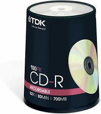 Genuine TDK CD-R 80MIN 700MB Spindle 100PK RECORDABLE CD new sealed T18773