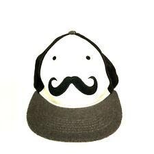 Mustache Flat Bill Panel Snapback Felt Baseball Cap Hat - Black and White