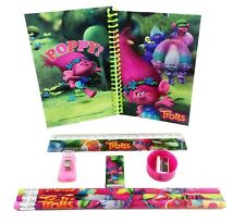 Trolls Green Pink Stationary Set Back to School Supplies for Kids 8 Piece