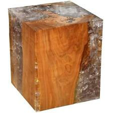 Resin and Teak Wood Cube Table