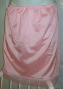 """CLEARANCE PINK Tricot 2 LAYER SLIP HIPSTER PANTY Sheer Hem 32-44 Waist   20"""""""